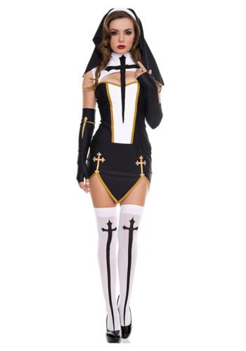 Sexy Nun Missionary Costume Halloween Adult Cosplay Dress