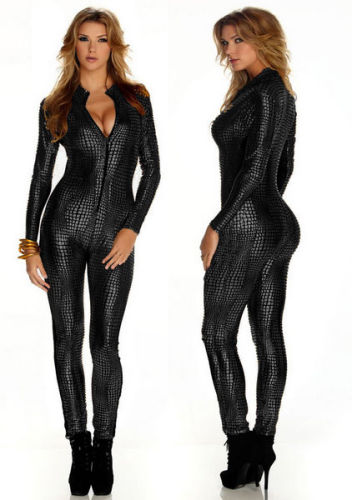 Sexy  V Neck Leather Catsuit  Jumpsuit