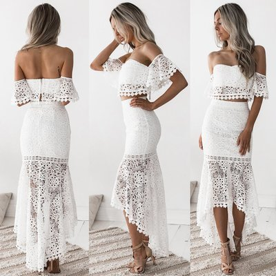 White Lace Crop Top and High Low Skirt Set