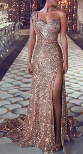 Sparkly One Shouler High Slit Evening Dress