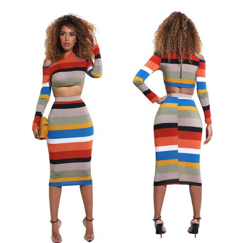 Wide Striped Cold Shoulder Crop Top and Midi Bodycon Skirt Set