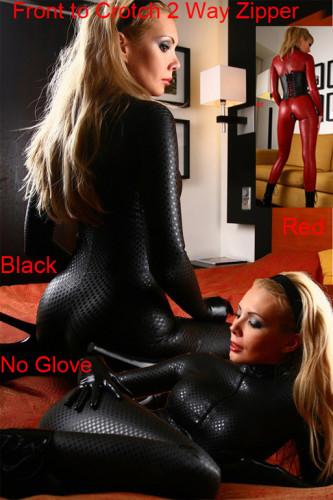 Black Zipper  PVC Leather Jumpsuit