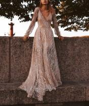Glitter Mesh Deep V Maxi Evening Dress