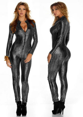 Hot  Sexy  V Neck Leather Catsuit  Jumpsuit