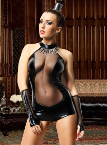 Sexy Mesh Insert Leather Jumpsuit