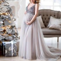 Sequins Mesh Splice V Neck Maternity Dress