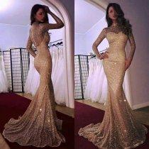Sparkly Long Sleeve Mermaid Prom Dress