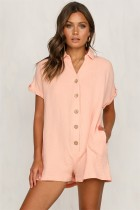 Loose Fit Buttoned Short Sleeve Relaxed Playsuit
