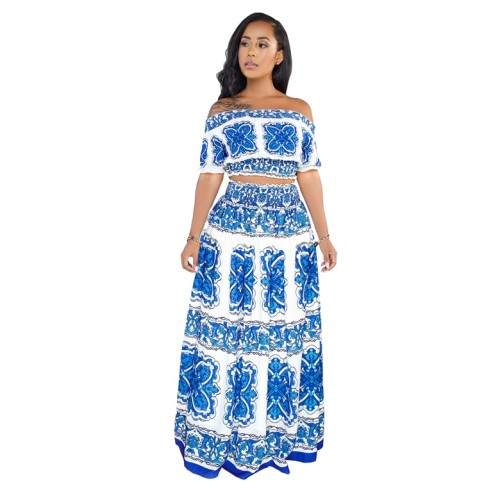 White Blue Printed Two Piece Long Skirt Set
