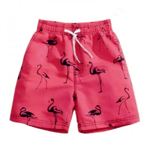 Red Flamingo Print Mens Beach Shorts Swim Trunks