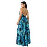 Floral Deep V Sleeveless Big Hem Maxi Dress