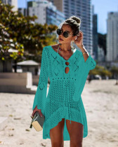 Hollow Out Knit Bell Sleeve Beach Dress Bikini Cover Up