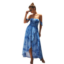 Shirred Blue Off Shoulder Print Wrap Split Casual Dress