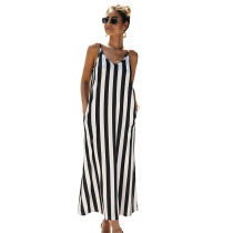 White Black Striped Pocket Strappy Long Dress
