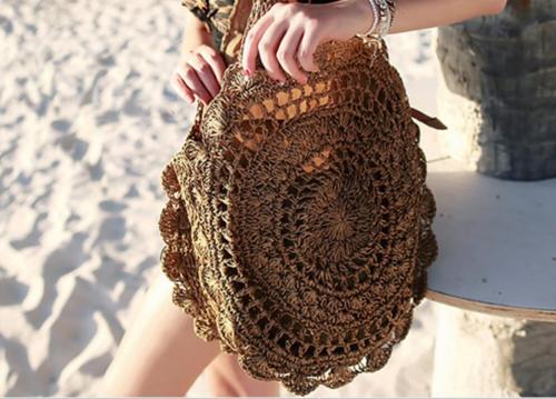 Crochet Round Straw Woven Beach Bag-Dark Brown