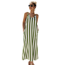 White Green Striped Pocket Strappy Long Dress