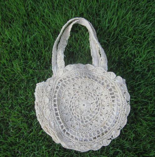 White Round Crochet Beach Bag