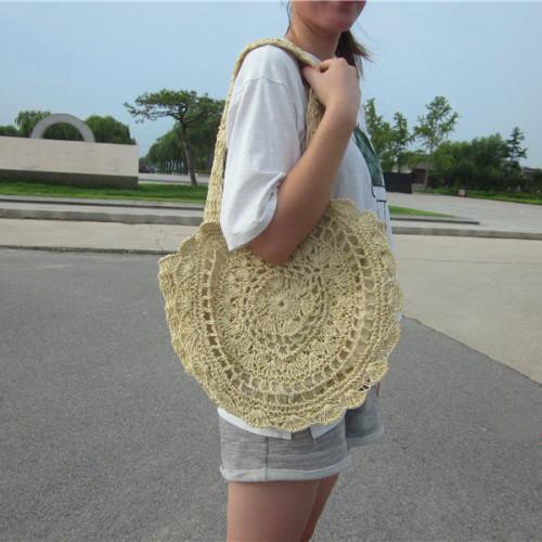 Beige Round Crochet Beach Bag