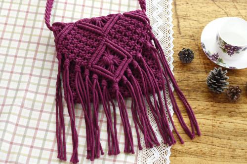 Fringe Cotton Crochet Beach Bag Sling Bag-Wine Red