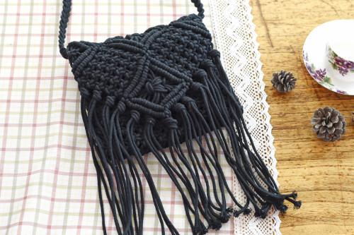 Fringe Cotton Crochet Beach Bag Sling Bag-Black