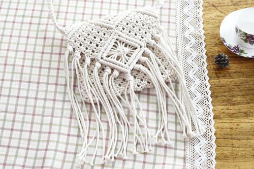 Tassel Cotton Crochet Beach Bag Shoulder Bag-White
