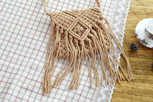 Tassel Cotton Crochet Beach Bag Shoulder Bag-Light Brown