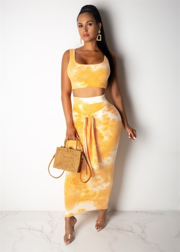 Printed Tank Top and Tie Front Midi Skirt-Yellow