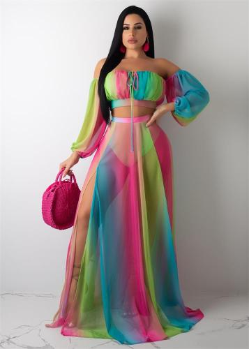 Rainbow Striped Off Shoulder Crop Top & Long Slit Skirt