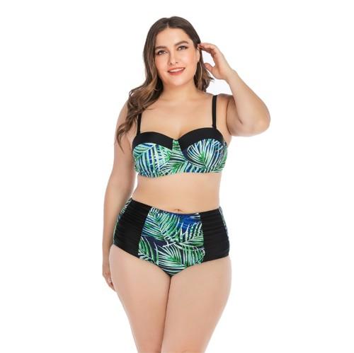 High Waisted Palm Print Ruched Detail Plus Size Bikini Set
