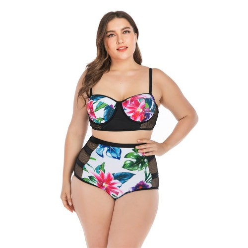 High Waisted Floral Mesh Panel Plus Size Bikini Set