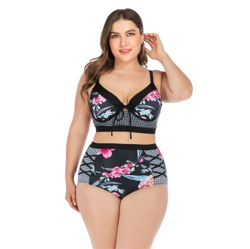 Black Floral Plus Size High Waist Bikini Set