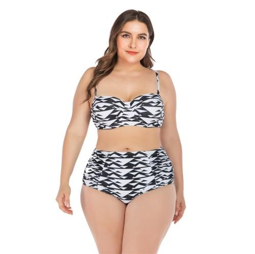 Black White Print Ruched High Waist Plus Size Bikini Set