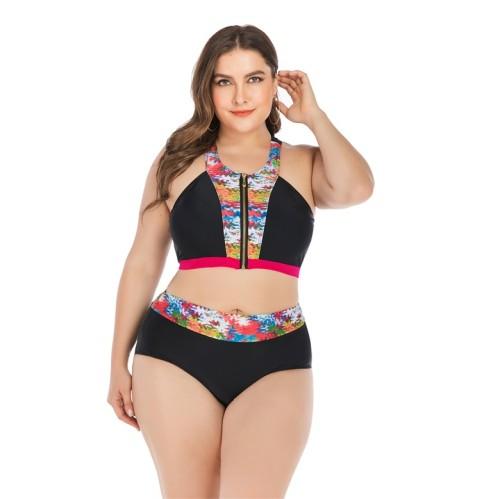 Black Contrast Patchwork Zipper Plus Size Bikini Set