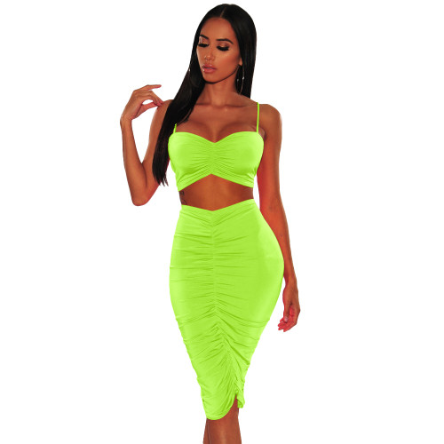 Neon Green Ruched Cami Top and Midi Skirt Set