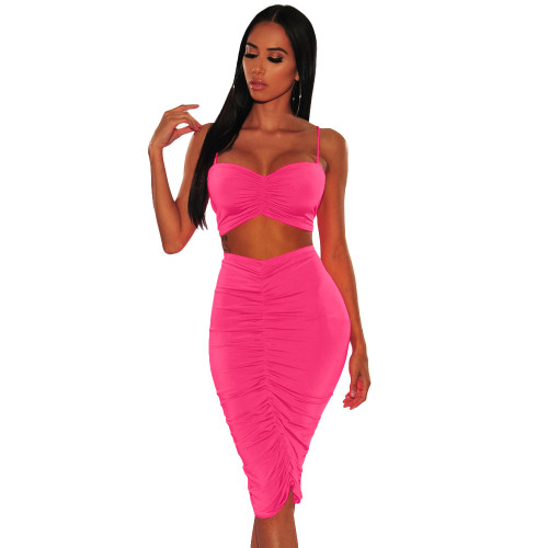 Hot Pink Ruched Cami Top and Midi Skirt Set