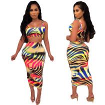 Multicolor Zebra Print Tank Top & Midi Skirt