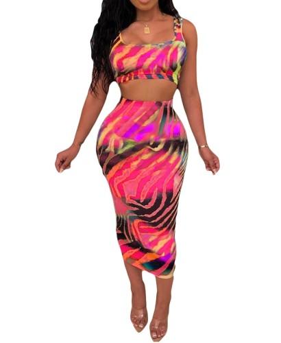 Colorful Zebra Print Tank Top & Midi Skirt