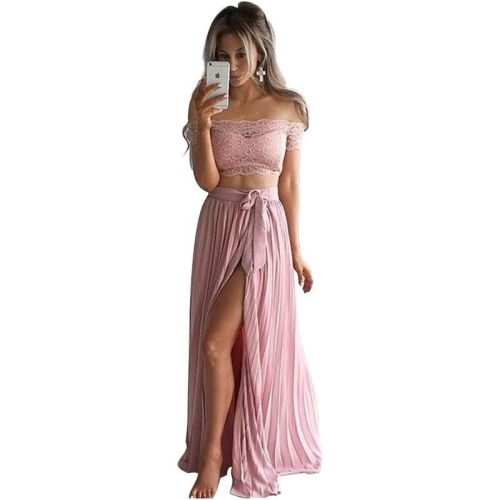 Pink Lace Crop Top and Slit Pleated Long Skirt