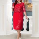 Red Plus Size Lace Splicing Midi Dress