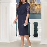 Plus Size Navy Lace Splicing Midi Dress
