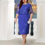 Blue Plus Size Lace Splicing Midi Dress