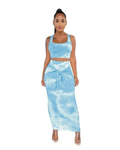 Blue Tie Dye Crop Top and Long Dress Set