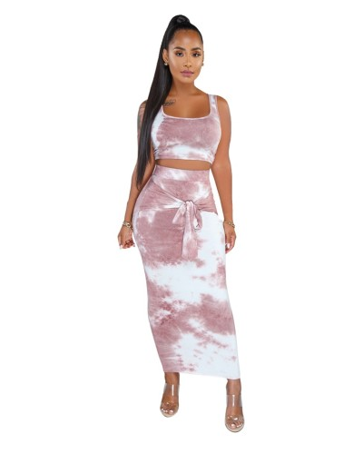 Tie Dye Cropped Tank Top and Tie Front Long Dress Set