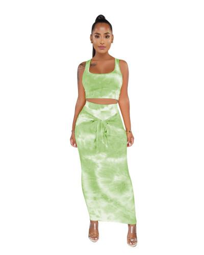 Green Tie Dye Crop Top and Tie Front Maxi Dress Set