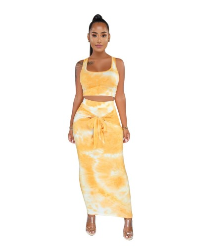 Yellow Tie Dye Crop Top and Long Dress Set