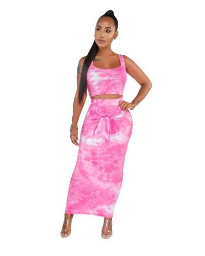 Hot Pink Tie Dye Crop Top and Maxi Dress Set