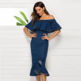 Off Shoulder Blue Denim Midi Mermaid Dress