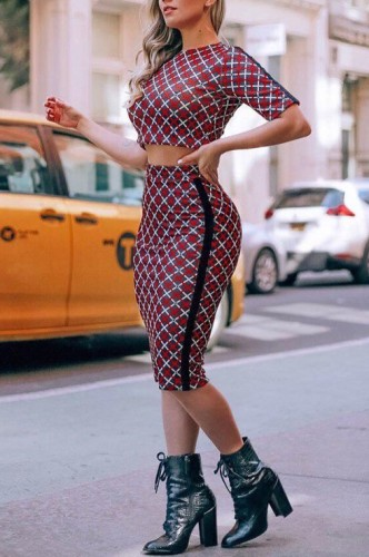 Contrast Grid Print T Shirt and Midi Skirt Set