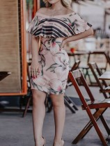 Pink Floral Off Shoulder Ruffle Tight Midi Dress