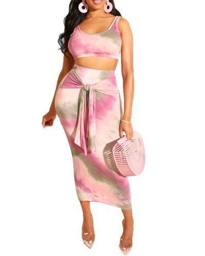 Tie Dye Tank Top & Knot Front Tight Midi Skirt